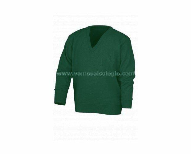 Jersey Cuello Pico Verde . Con composición 30% Lana y 70% Acrílico