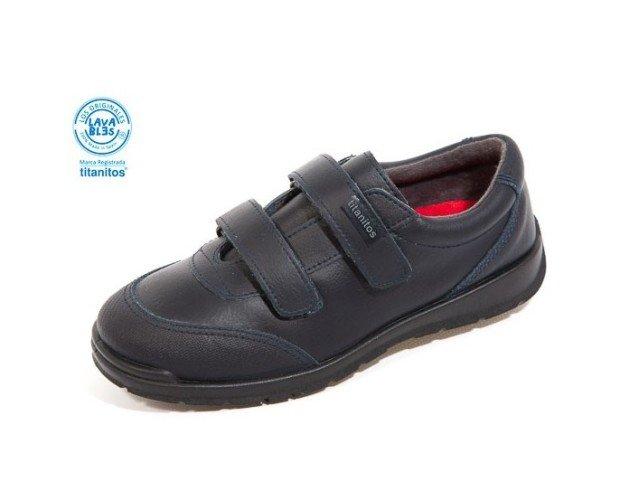 Zapato colegial, doble velcro. Lavable, color marino