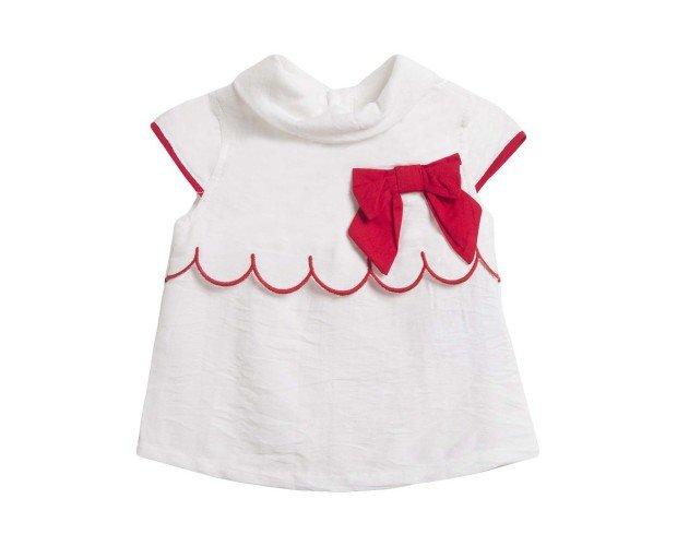 Blusa Blanca Con Lazo Rojo. Ligera y vaporosa, especial para tu bebé