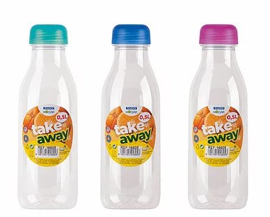 Botellas para agua o zumo. En formato de 0.5 ml.
