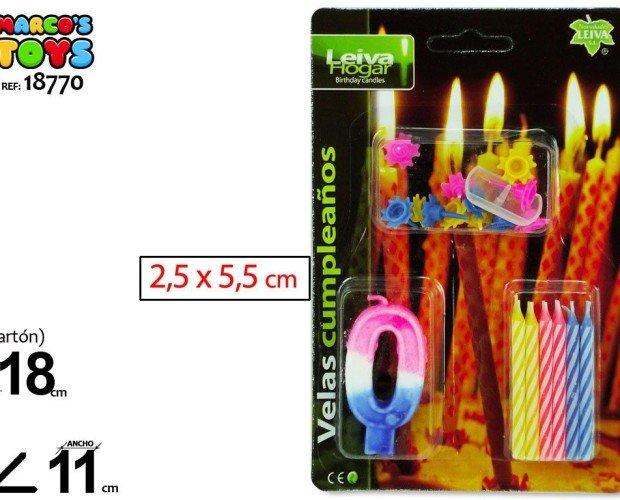 Velas de cumpleaños. Velas en variedad de colores y números