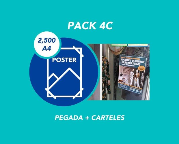 Pack 4C. Pegada + 2500 Carteles A4