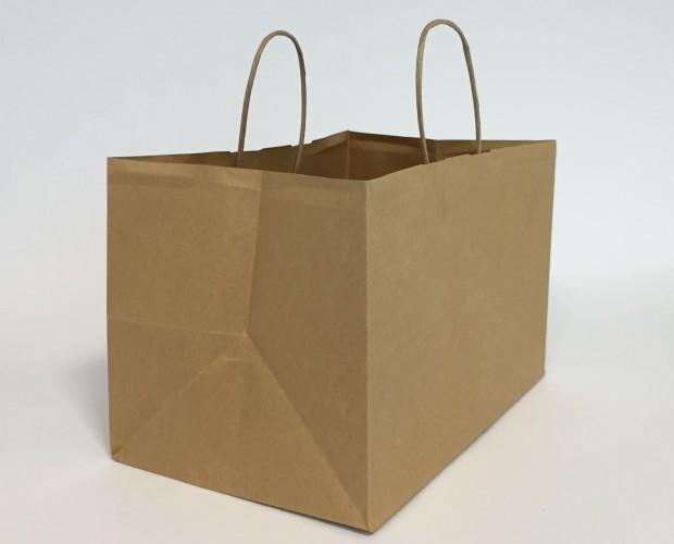 Bolsa papel tartas. Bolsas de papel para tartas, asa plana, retorcida.