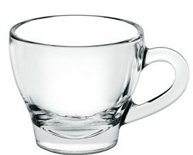 Tazas. Juego Taza Cristal Café 80 ml + plato para uso en Hostelería