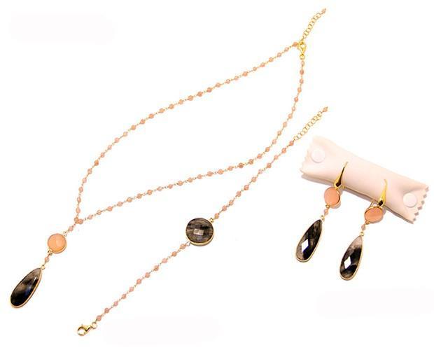 Conjunto. Conjunto de cadena tupi cuarzo rosa y cuarzo rutilado en plata 925 bañada en oro
