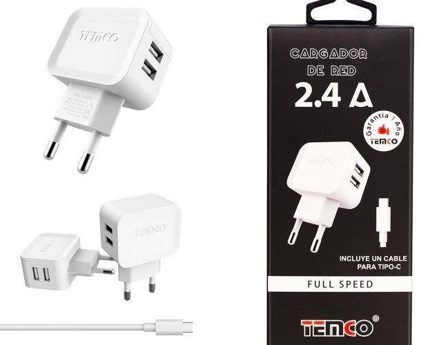 Cargador USB Tipo C. Cargador con cable USB Tipo C y 2 puertos de carga