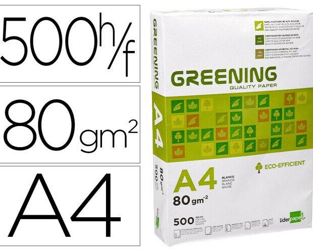 PAPEL A4 GREENING 80GR. Papel multifunción blanco A4 80gr. LIderpapel Greening 500 hojas