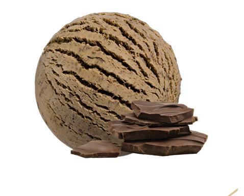 Chocolate belga. Helado de puro chocolate belga con delicadas láminas de chocolate belga negro