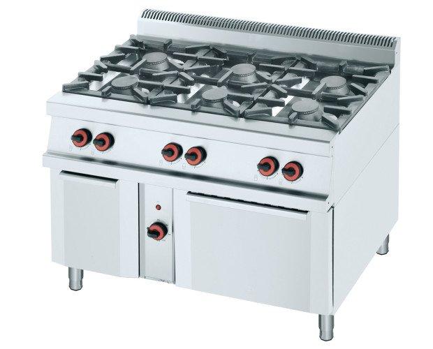 Cocina a gas con horno 750. Con coronas de hierro fundido.