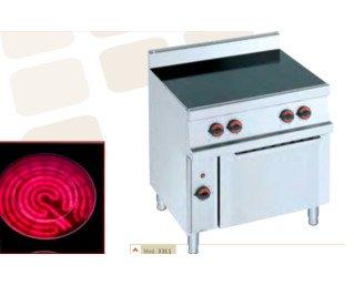 Cocina eléctrica vitroceramica. Cocina 4 fuegos con horno y gratinador.