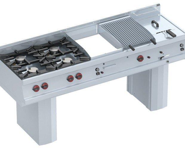 Combinacion gama 600. Cocina modular, compuesta por : Cocina encimera 4 fuegos a gas Plancha frytop de cromo duro a gas de 400 Barbacoa a gas de 400 Freidora de...
