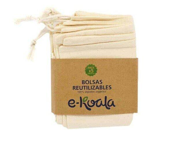Kit de 5 bolsas reutilizables. Con ellas podrás evitar el consumo de bolsas de plástico de un solo uso