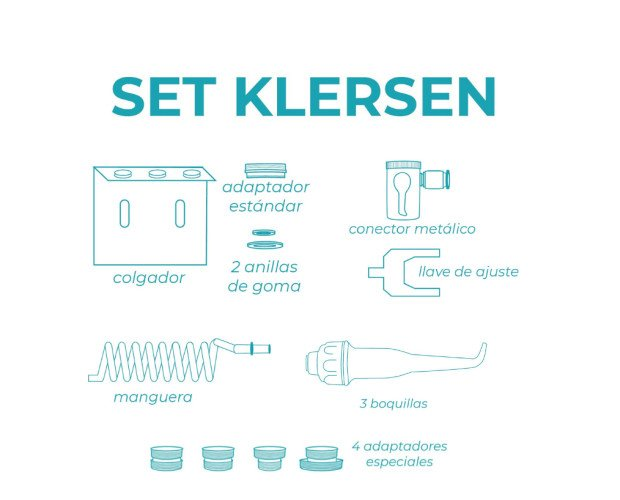 Set irrigadororal klersen. Piezas que trae en la caja el irrigador oral portátil Klersen.