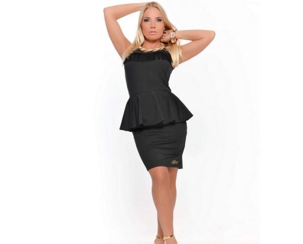 Vestido Becca Negro. Vestido peplum