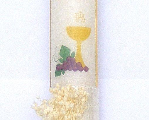 Vela de comunión-cinta. vela de Comunión decorada con cinta blanco.crema