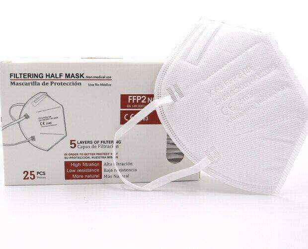 MASCARILLA FFP2. Mascarilla FFP2 en caja de 25 unidades. Disponible en color blanco, negro y rosa.