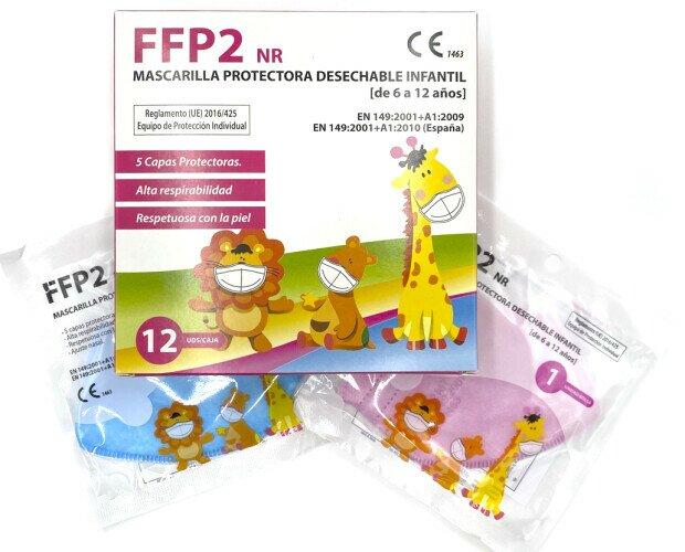 MASCARILLA FFP2 INFANTIL. Mascarilla FFP2 infantil en color rosa, azul o blanca. Caja de 12 o 25 unidades.