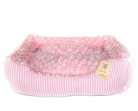 Cama para perro. Cama rosa rectangular 61x48x18 Cm.