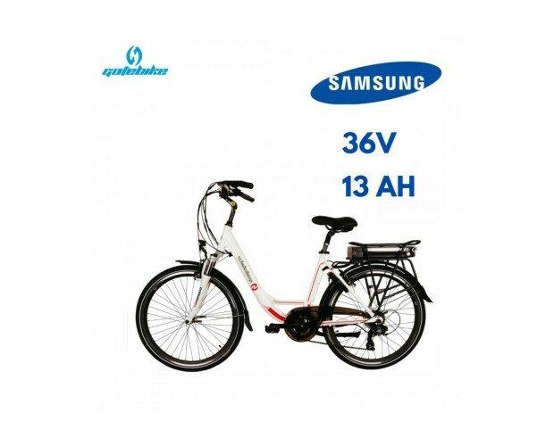 Bicicleta Electrica Gotebike. Las baterías en formato rack de la parte trasera se puede cargar sin extraerla