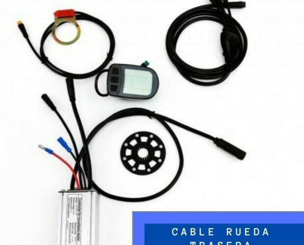 KIT Controlador. Cable de conexión para rueda trasera y sensor PAS para eje cuadradillo