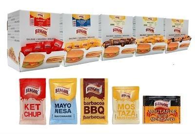 Salsas en minidosis. Kétchup, Mayonesa, Mostaza, Barbacoa, etc.