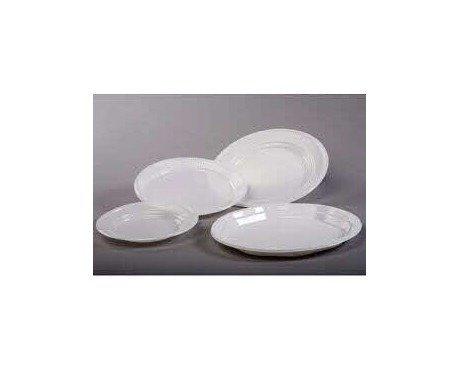 Platos llanos redondos. Platos de plástico blanco