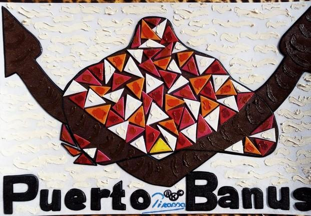 Puerto Banús. Serie Puerto Banús Logo Luxury souvenir. 44*66 cmFusión pictórica Art design