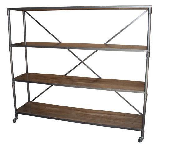 Estantería Arizona. Estantería estilo industrial fabricada en acero con acabado en barniz natural y baldas de madera de mango. Medidas: 180x40x162 cm.