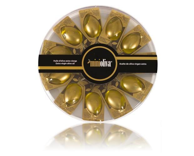 Bombonera de aceite de oliva. Contiene 10 monodosis de 14ml por envase