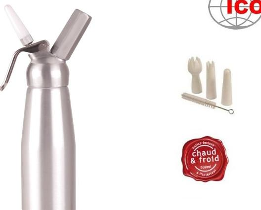 Sifón nata. Sifón marca ICO con capacidad para montar medio litro de crema para batir.   Fabricación en aluminio 100%.    Este sifón puede realizar cremas y espumas frías y calientes hasta un máximo de 55 grados