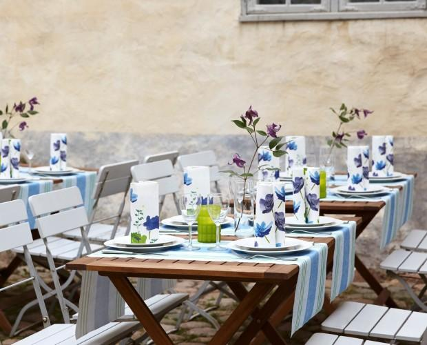 Montaje terraza. Mantele, servilletas y accesorios para sus mesas.