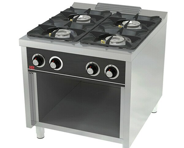 Cocina C4F900E. Cuerpo en acero inoxidable AISI 304. Parrilla superior fundición