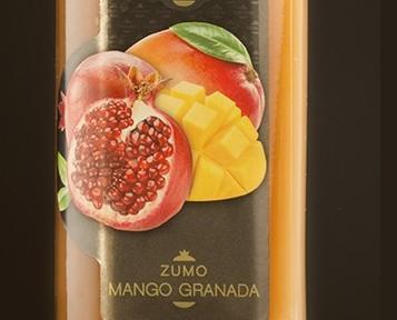 Mango granada. Zumo de mango y granada