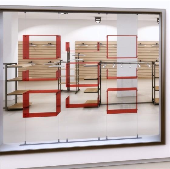 Cubos y estanterias. Cubos y estantes de metacrilato, madera, chapa o cristal fijación con cable tensor