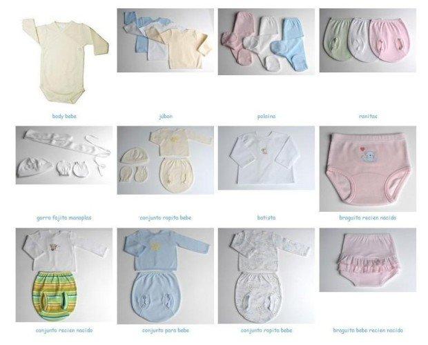 Ropa para bebé. Polainas, gorros, bodys, manoplas, peleles