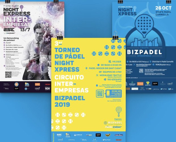 Diseño de Flyers para Eventos. Proyecto Bizpadel - Concepto, cartelería, web, evento..