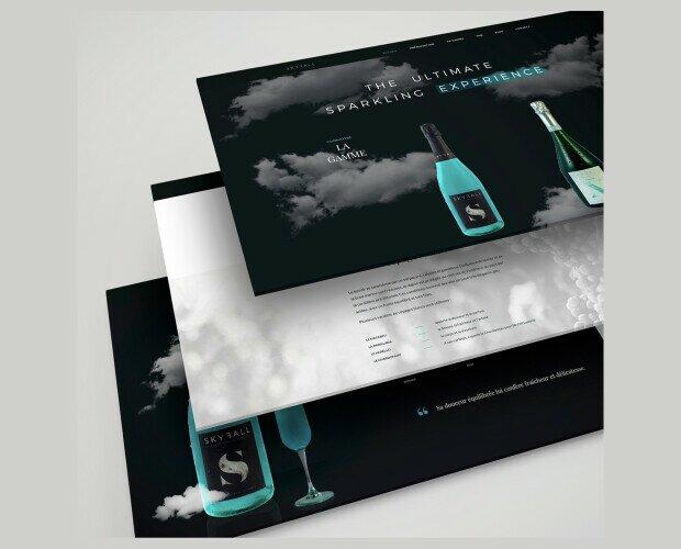 Diseño de Botellas.Proyecto Skyfall Sparkling Blue Wine - diseño web, diseño de marca, etiquetas...
