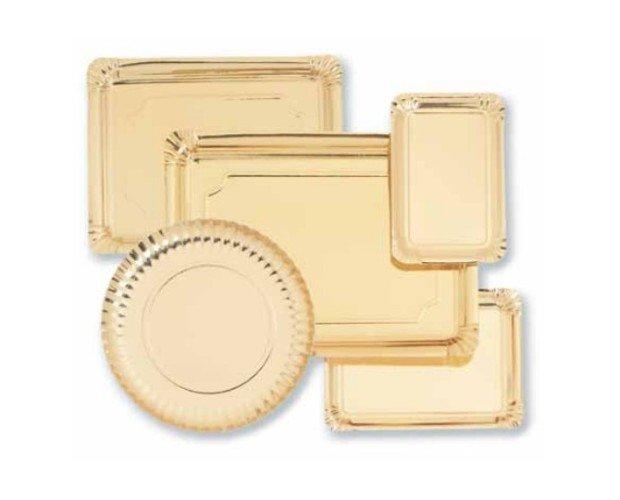 Vajilla desachable oro. paquete de 100 platos carton