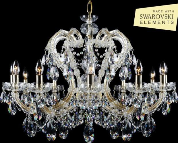 Lámpara de techo. Hermosa lámpara de techo de cristal de bohemia con elementos de Swarovski. Modelo:Maria Thereza