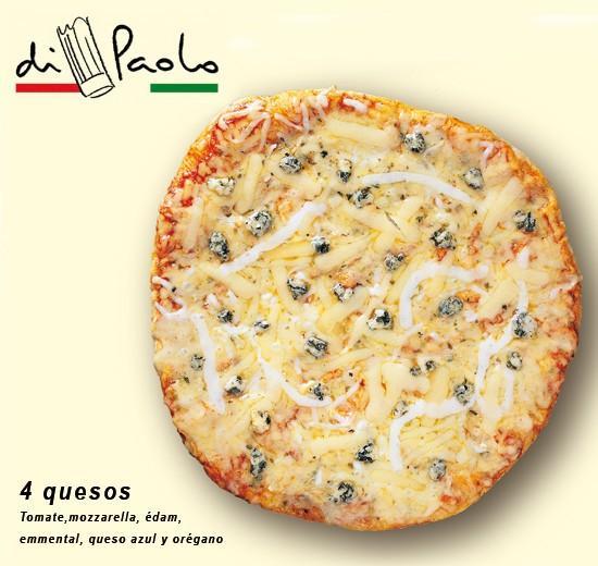 4 quesos . Mozzarella, édam, emmental y queso azul