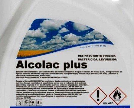 5 l. alcolac plus. DESINFECTANTE HIDROALCOHOLICO DE DESINFECTANTE, BACTERICIDA, FUNGICIDA, VIRICIDA.
