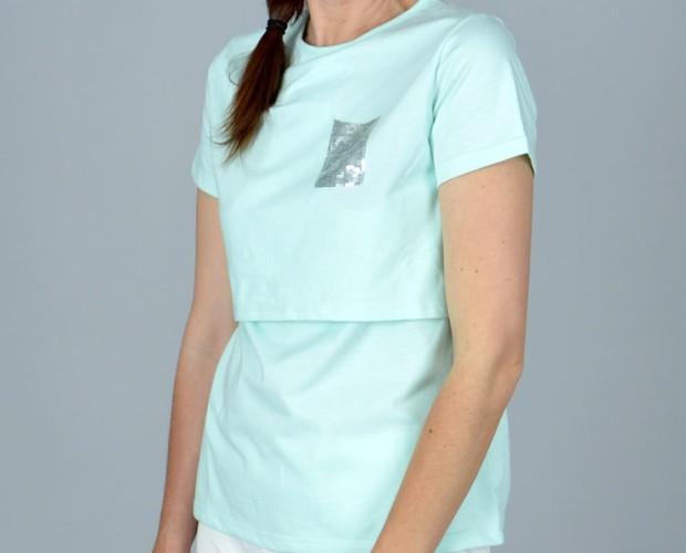 Camiseta lactancia. Camiseta de lactancia shine azul, manga corta