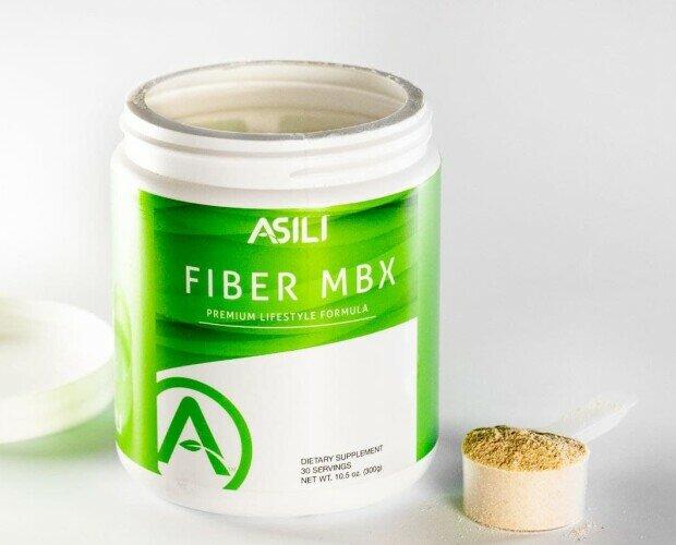 Fiber MBX. Fibra con dos tipos de fibras y 5 granos.Formato tarro 30 porciones. Sabor cítrico.