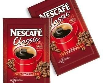 Café Descafeínado. Sobres individuales de café soluble marca Nescafé.