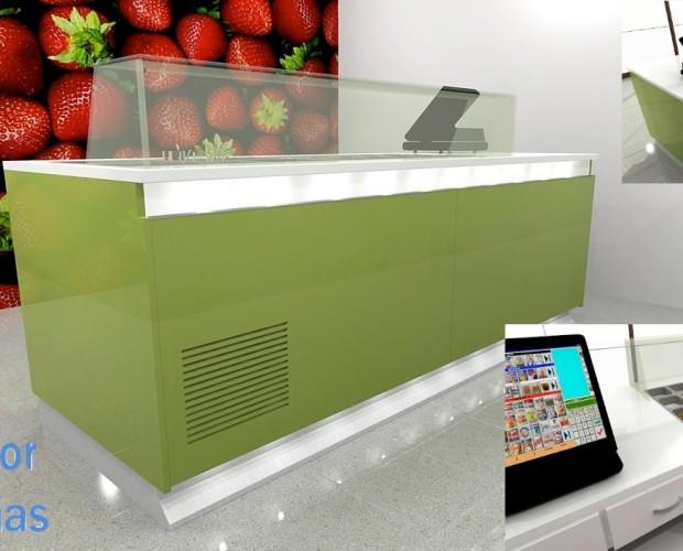 Mostradores para toppings. Ideales para heladerías