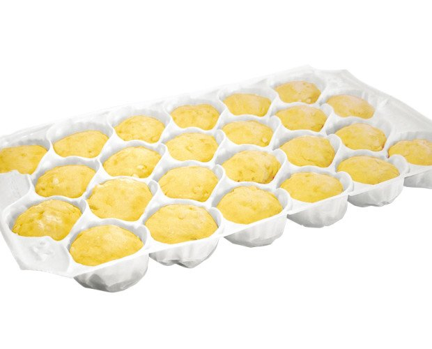 Mezcla para Gofres.Caja de masa de bolas congeladas para gofres. Dos formatos: cajas de 156 o 78 u.