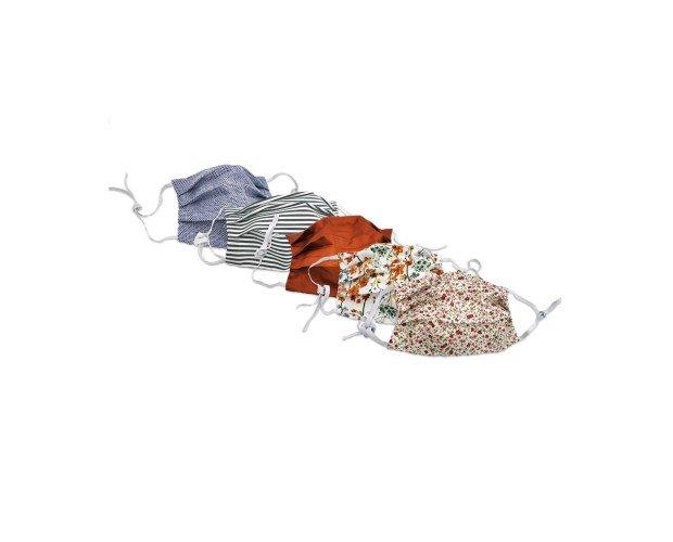 Pack 5 Mascarillas de Algodón. Doble capa de algodón (la capa que está en contacto con la boca va siempre en blanco