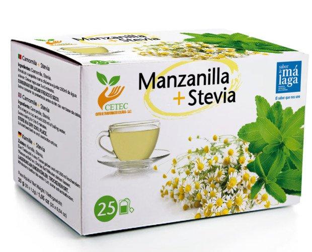Manzanilla + stevia. Ingredientes: Manzanilla + Stevia