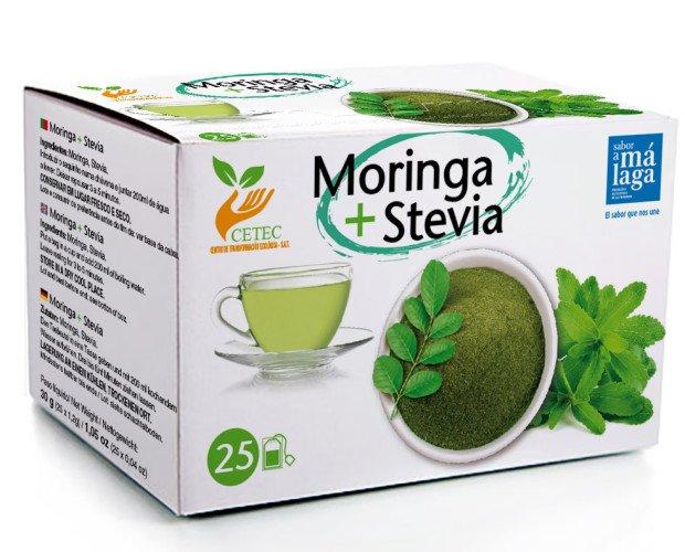 Moringa + Stevia. Hojas trituradas de Moringa Oléifera + Stevia