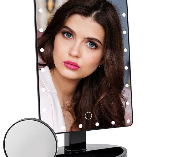 Espejo de maquillaje con luz led. Rotación horizontal de 360 grados y vertical de 180 grados